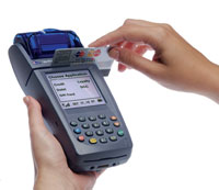 wireless credit card machine swiping payment
